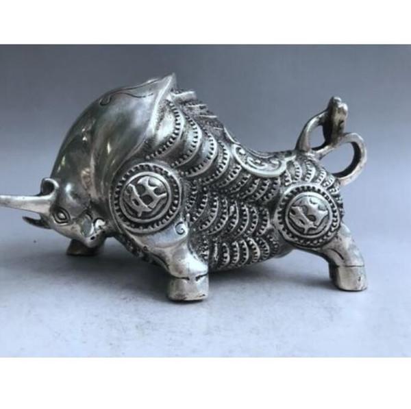 Estatua tallada mano de plata tailandesa de la escultura de la toros del ganado de las antigüedades de China