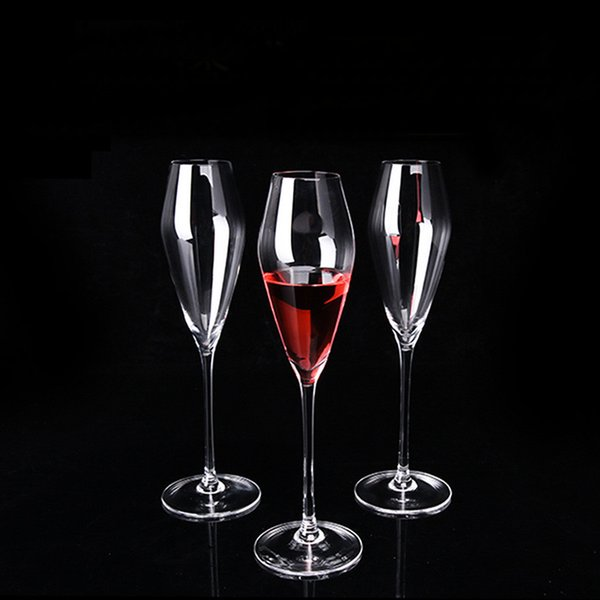 Creative European style Goblet No bubbles Champagne Glass Lead-free Crystal Wine Glass Transparent Diamond Hand 6pcs