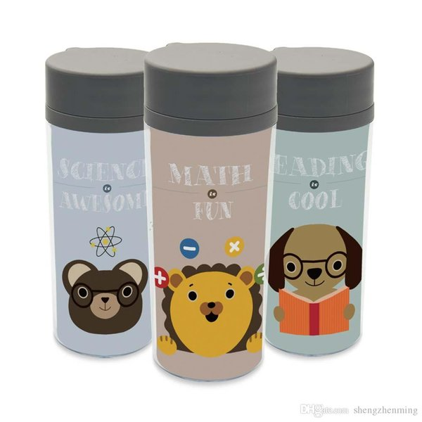 Plastic Insulated Animal Cute Kid Water Bottle 300ml Art Gift Bpa Free Personalized Abstract Bear Lion Dog Kawaii Wide Mouth Cup Reusable Water