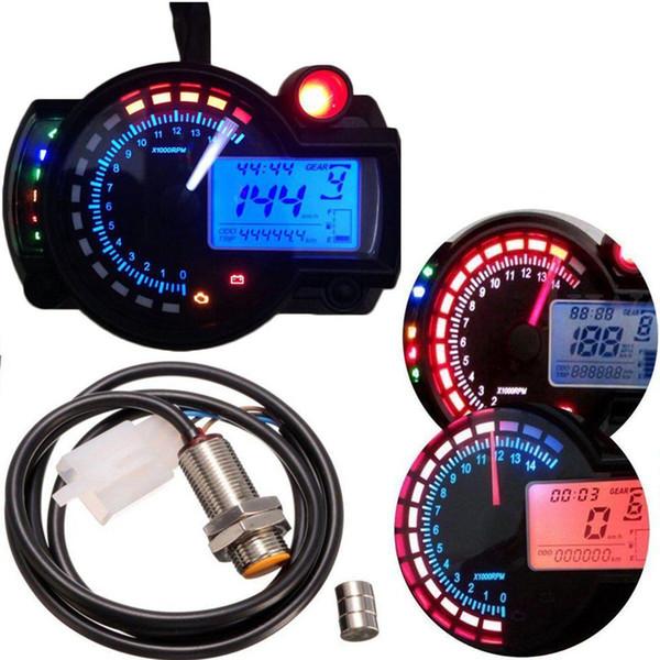 Motorcycle Universal Odometer Speedometer Tachometer Gauge LCD Digital Kit