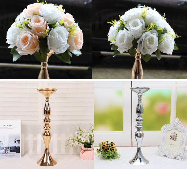 Wedding photo props 20pcs Iron Flower vase candle holder stand 20pcs silk flower wedding table centerpieces Decor table accessories crafts