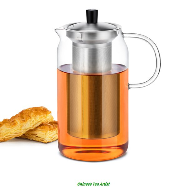 Heat Resistant Glass Modern Large Teapot with Stainless Steel Infuser & Lid 1200ml,Borosilicate Glassware,Teaware,Free Shipping