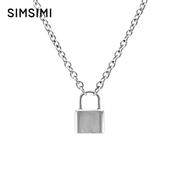 Simsimi Men Jewelry silver color Lock pendant necklace Brand new Stainless Steel Rolo Cable Chain necklace
