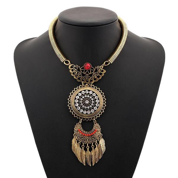 Wholesale- Find Me 2017 brand Boho Fashion Feather big gem collar Choker necklaces & Pendants Vintage statement maxi Necklace women Jewelry