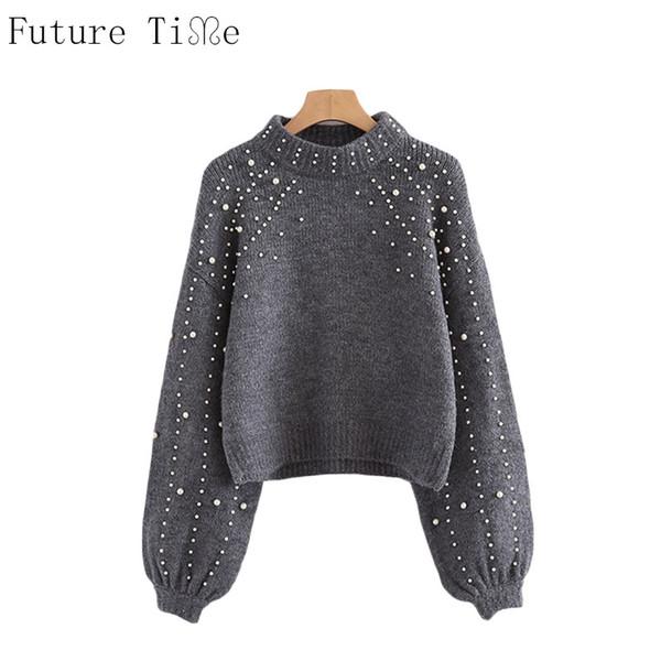 Großhandel Future Time Pearl Perlen Rippstrickpullover Winter Damen Pullover Pullover Grau Stehkragen Langarm Engen Pullover MY207 Von Art03, $32.82