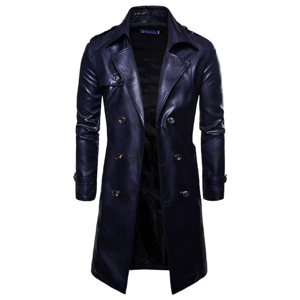 2018 New Mens Fashion Long Sleeve Faux Leather Waist Belt Plaid Trench Double Breasted Slim Fit Long Overcoat Urban Clothin