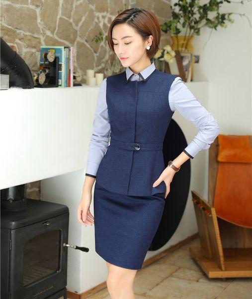 Frauen Business Anzüge 2 Stück Rock und Top Sets Weste Weste Damen Büro Uniform Designs Stile