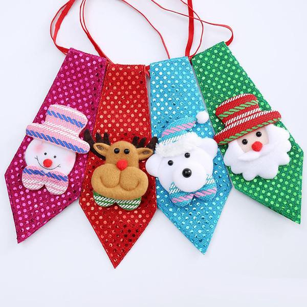 Çocuklar Sevimli Mini Santa Ren Geyiği Kardan Adam Ayı Payetler Bağları Çocuklar Yay Bağları Noel Hediye Dekorasyon Drop Shipping