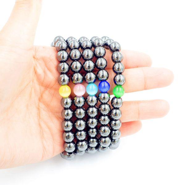 1 Pcs Preto Fresco Pulseira Magnética Beads Hematita Pedra Terapia Cuidados de Saúde Ímã Hematita Beads Pulseira da Jóia dos homens