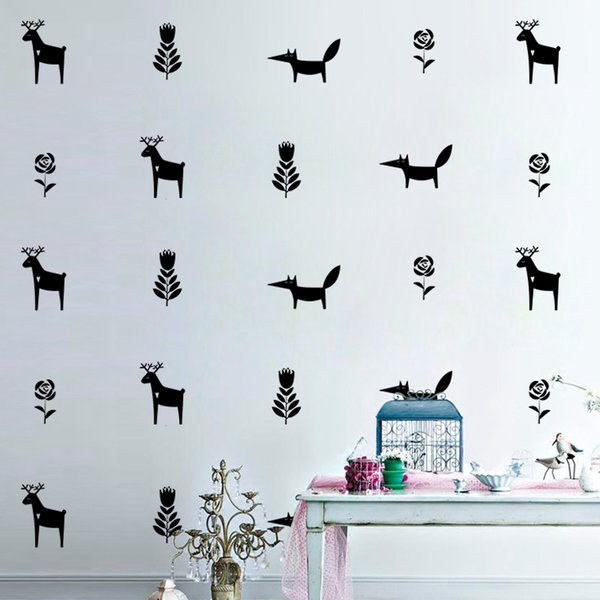 32pcs/set Creative Merry Christmas Elk Wall Stickers Fox Sticker Furniture Cabinets Vinyl Decal Kids Room DIY Home Decoration Living Room