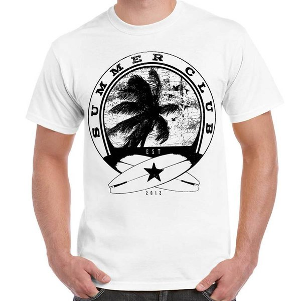 2018 Moda Imprimir Camiseta Divertente Uomo Maglietta Cotone Estilo Urbano Con Stampa Surfista Clube de Verão 100% Algodão de Manga Curta