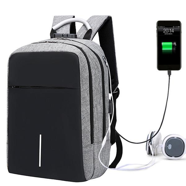 Роскошная металлическая ручка кодовый замок молния рюкзак качество водонепроницаемый оксфорд светоотражающие полосы школьный рюкзак 15