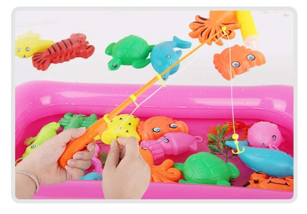 Fishing Toy Inflatable Pool Suit Magnetic Fishing Rod Baby Water Fun Kids Play Fishing Games Modle Toys
