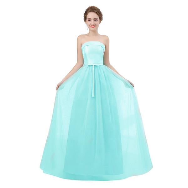 Teal bridesmaid dresses long strapless tulle a line cheap formal maternity bridesmaid dress 2018 real picture