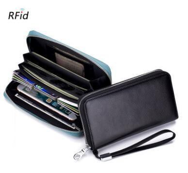 wholesale Leather RFID Blocking Credit Card Holder Men Anti Theft Travel Passport Long Wallet Women Business ID Holder Cards Purse