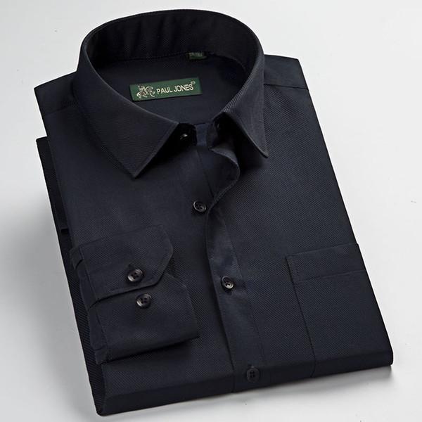 adb3f80b634b464 Мужская с длинным рукавом Саржа основной дизайн рубашки платья с нагрудным  карманом регулярные подходят твердые формальные