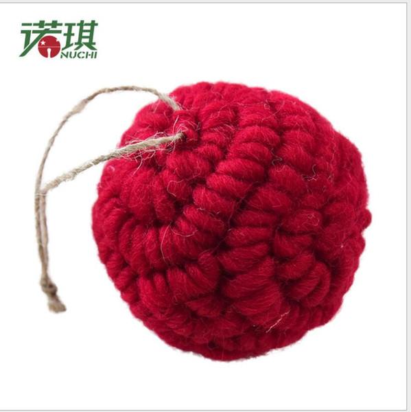 2018 Navidad 6CM Knitting Wool Christmas Ball Ornaments For Christmas Tree Decorations Christmas Decoration For Home