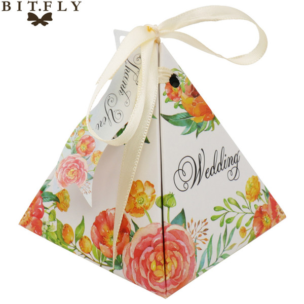 vent Party Gift Boxes Bags BITFLY 50pcs/lot Triangular Flower Ribbon Double Candy Box Wedding Party Sweets Gift Paper Mini Packaging Bags...