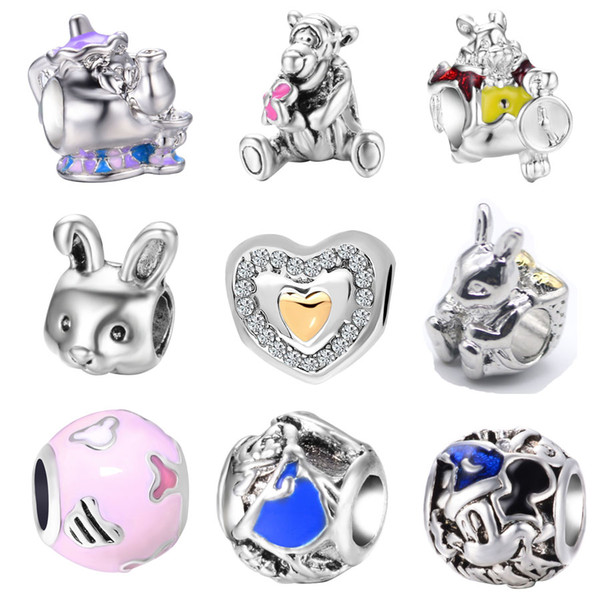 best selling Free Shipping MOQ 20pcs Silver Bear Love Rabbit Teapot bead charms fit Original Pandora Bracelet Jewelry DIY N001