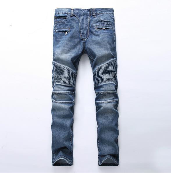 Men's Distressed Ripped Skinny Jeans Fashion Designer Mens Shorts Jeans Slim Motorcycle Moto Biker Causal Mens Denim Pants Hip Hop Men