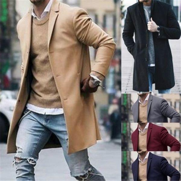 Hombres de mediana longitud mezcla de lana Parkas negro caqui abrigos de cuello de solapa hombre invierno moda ropa envío gratis