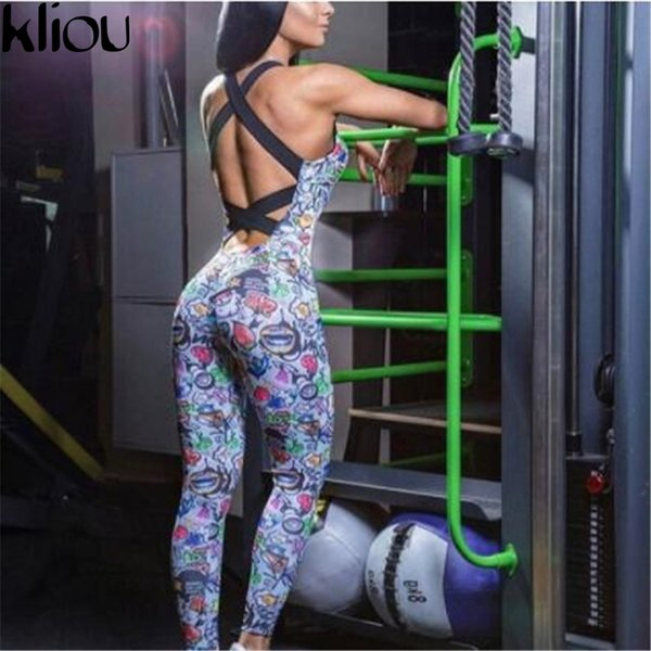 Kliou Sexy Full Bandage Sporting Bodysuit Backless Fitness Jumpsuit Women Body Sportswear Jumpsuit Tracksuit Overall Women Femme