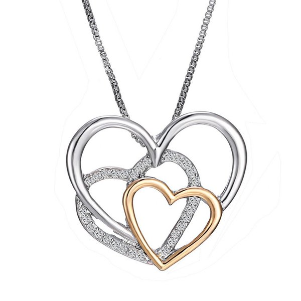 """Silver Heart Necklace, Zirconia Pendant Necklace Hearts Together Best Gift for Women Gift 18""""+2"""" Exten"""