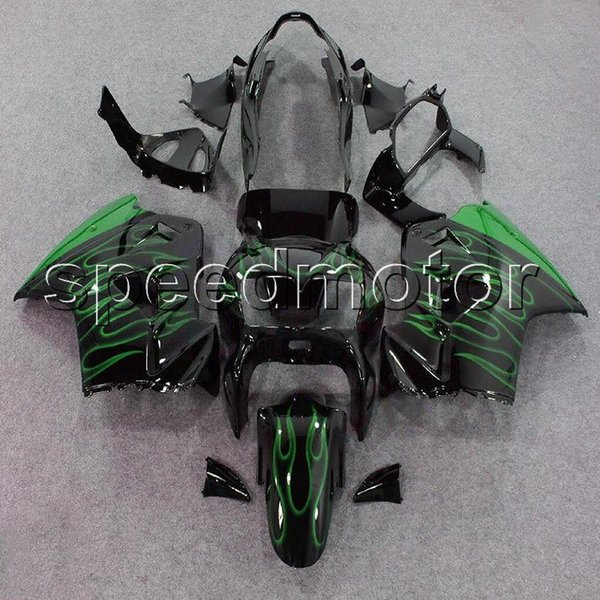 colors+Gifts green flames 98-01 VFR 800 motorcycle cowl Fairing for HONDA VFR800 1998 1999 2000 2001 ABS plastic kit