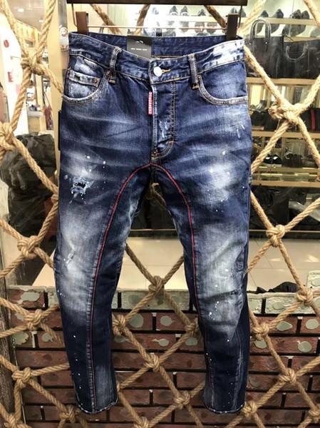 Nouveau Automne Hiver Jeans Marque Hommes Moto Mode Mince Casual Trou Denim Pantalon Vêtements Hommes Zipper Distressed Ripped Pants D2 # 0210