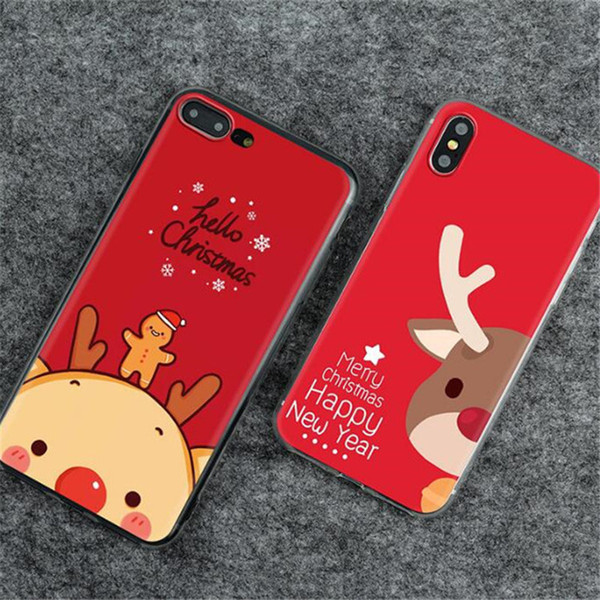 Coque Smartphone Joyeux Arbre De Noël Père Noël Bonhomme De Neige Cerf Mignon Cadeau Téléphone Cas Doux Tpu Pour Iphone Xs Max X Xr 8 7 6 S Plus Coque