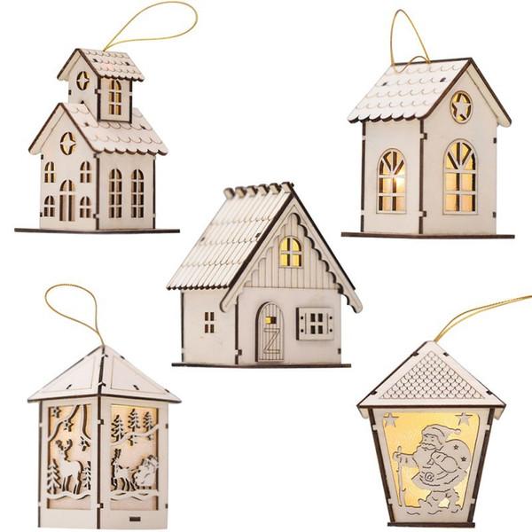 Weihnachten Holzhaus Wand Dekor mit Licht Mini LED Holzhaus Xmas Party Wand Tür Dekor Weihnachtsbaum Hängende Ornamente Y18102609