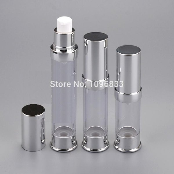15ML Airless Pump Bottle Silver Color, Airless Lotion Bottle, Cosmetic Essence Bottle, Airless Pacagking bottles, 50pcs/Lot
