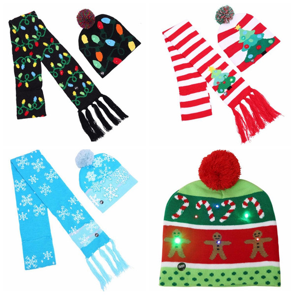 4 Styles Natale LED Hat sciarpa a maglia Set LED Lights Pom Beanie Sciarpe Set Xmas Snowflake Crochet Hats Regalo di Natale CCA10670 12 set
