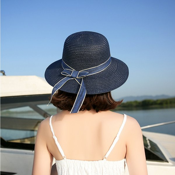 Ladies summer travel big bow sun hat Elegant monochrome sunshade folding straw hat Fashion travel pink Navy beige Khaki