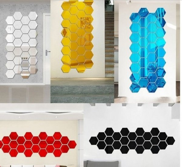 12pcs/lot 3D Mirror Wall Sticker Hexagon Vinyl Removable Wall Sticker Decal Home Decor Art DIY 5 Colors 8cm 18.4cm