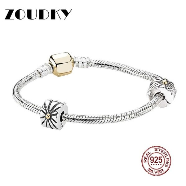 ZOUDKY Book 925 Sterling Silver Two-Tone Iconic Starter Bracelet Set fit DIY Original charm Bracelets jewelry A set of prices