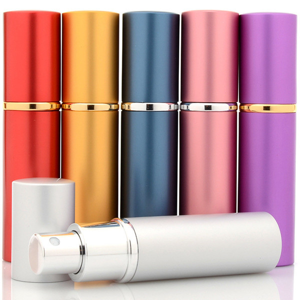 10ml mini empty perfume bottle refillable aluminum atomizer travel parfum container with atomizer airle pump 8 color
