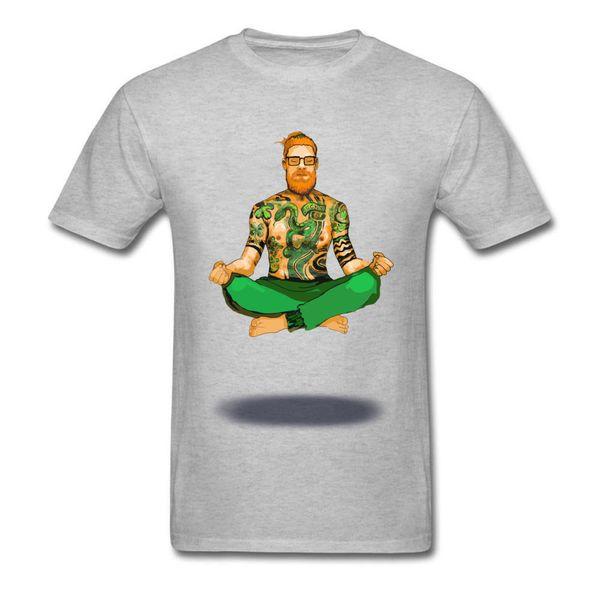 ŞANSLı Modern Gün St Patrick T-shirt Dövme Adam T Gömlek Meditasyon Tshirt Erkek Pamuk Gri Tops Serin Tee Hipster Giysi Spor