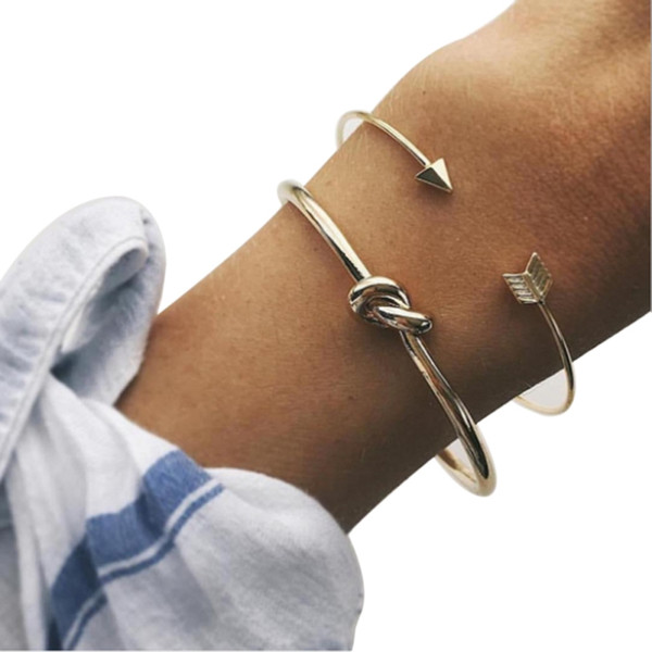 2pcs/set Fashion Bangles New Design Punk Arrow Knot Open Bangles For Girl Party Jewelry Gift W2