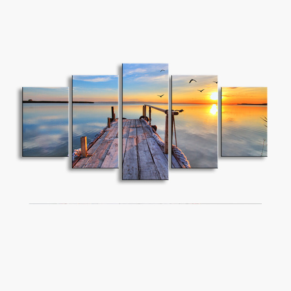 5 pieces high-definition print Wooden bridge Landscape canvas oil painting poster and wall art living room picture MUQ5-001
