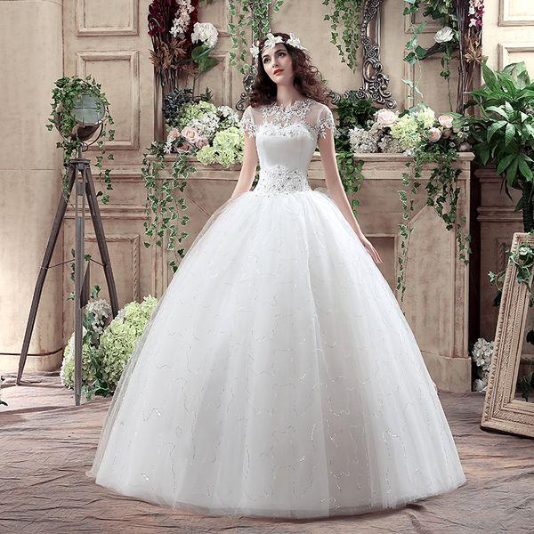 Nouvelle Arrivée Style Coréen Grande Taille Robe De Mariée En Dentelle Broderie Robe De Mariée Sur Mesure Taille