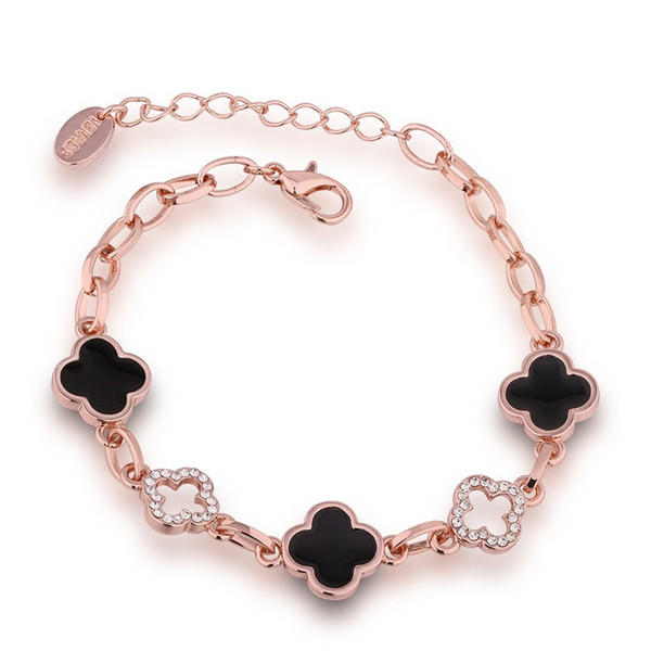 Four Leaf Clover Lady Bracelet Rose Gold Plated Alloy Crystal Lucky Clover Bracelet 24cm Chain Female Accessories