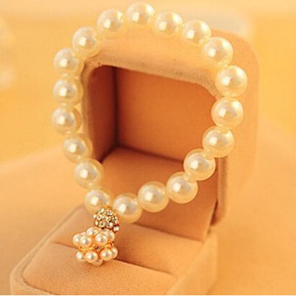2018 Korean Style Wedding Bracelet Bridal Party Jewelry Faux Pearl Rhinetone Free Size Prom Evening Party Bracelet Bridal Accessories
