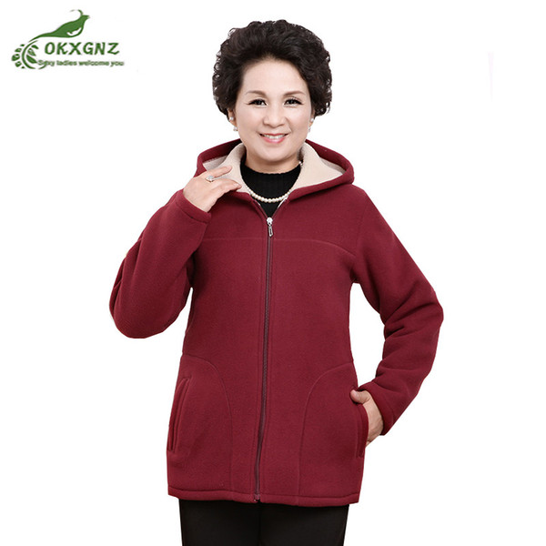 New Winter Outwear Middle Aged Womens Imitation Lambs Fleece Jacket Hooded Ladies Warm Soft Velevt Coat Mother Overcoats Size5XL
