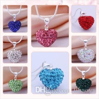 fashion cheapest white black 16 inch mix Silver Plated Crystal Heart Shamballa Necklace Pendant Snake Chains C014
