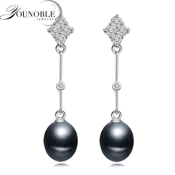 Fantastic 925 sterling silver earrings women,trendy long white black freshwater natural pearl earrings