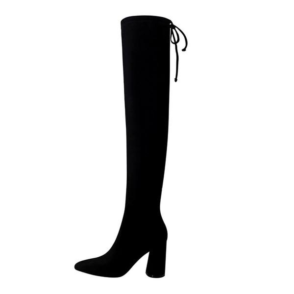 2018 New Pointed Toe Crystal Heel Women's Short Boots Solid Flock Fashion Zipper Women High Heels 9cm Boots Winter Office