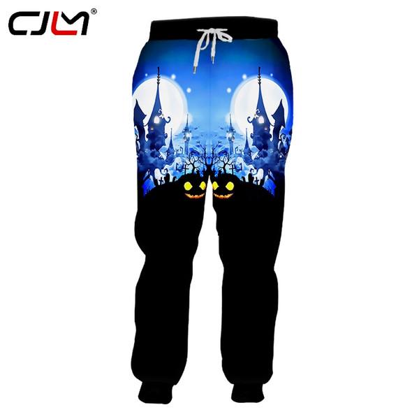 CJLM Halloween Creative Man Spandex Sweatpants 3D Cat And Castle Printed Hip Hop Trousers Men's Animal Pants Big Size 5XL