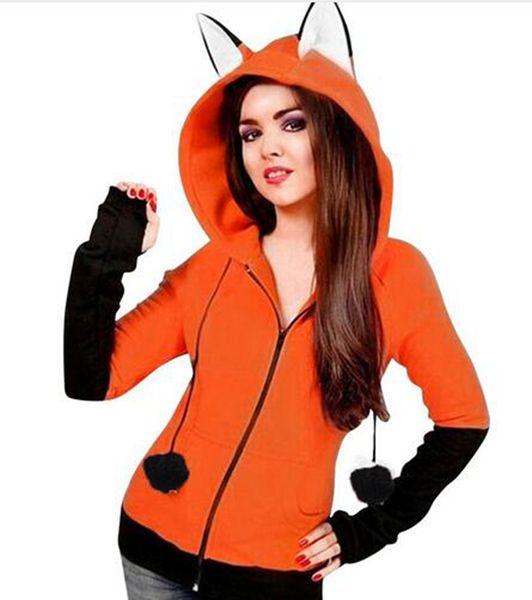 New Arrival Moletom BTS Kpop Fox Ears Hooded Sweatshirts Women Long Sleeve Coat Autumn Hoodies Zip Up Jacket