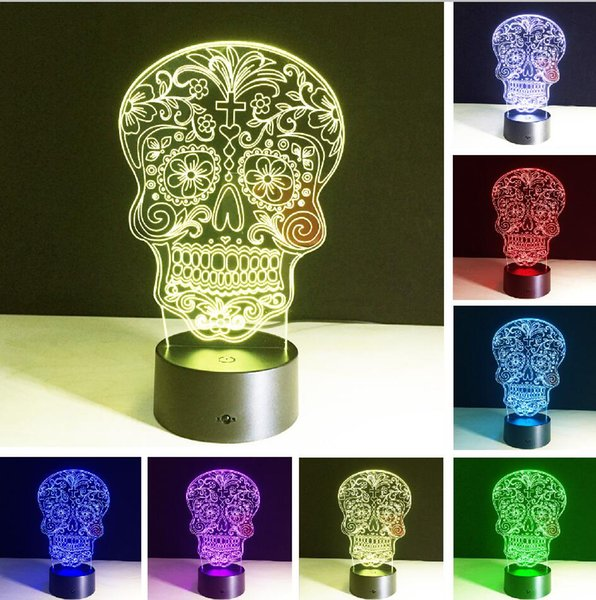 Religious Skeleton Skull 3D Hologram Flower Cross Illusion Vision Bulbing Switch Touch Remote Table Lamp Dream Color Change Nightlight Gifts